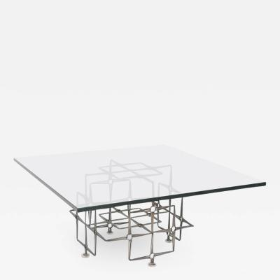 Paul Evans Large Square Brutalist Cocktail Table by Paul Evans