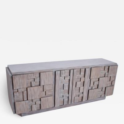 Paul Evans Mid Century Brutalist Dresser Lane Patchwork Walnut Tiles After Paul Evans