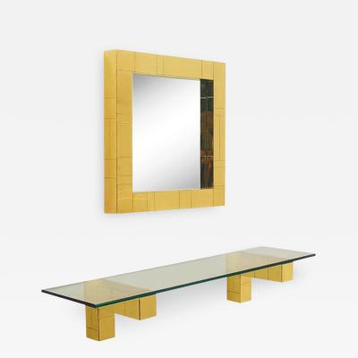 Paul Evans Mid Century Paul Evans Cityscape Wall Mirror Console Table Shelf in Brass