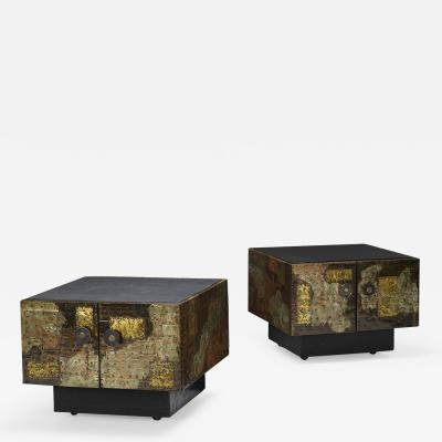 Paul Evans PAIR OF PAUL EVANS WELDED AND PATINATED STEEL PATCHWORK SIDE TABLES