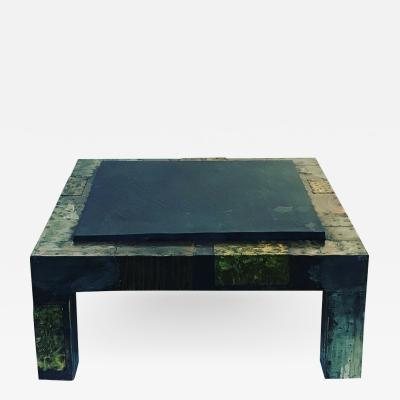 Paul Evans PAUL EVANS MIXED METALS PATCHWORK AND SLATE COFFEE TABLE