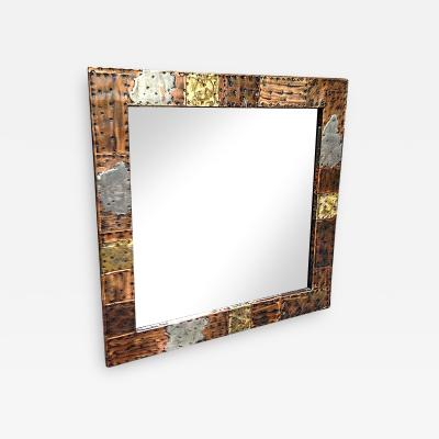 Paul Evans Paul Evans Bold Patchwork Mirror in Copper Brass and Pewter