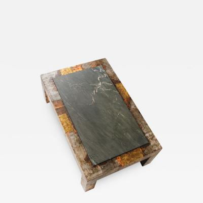 Paul Evans Paul Evans Brutalist Mixed Metals Patchwork Coffee Table with Exotic Slate Top
