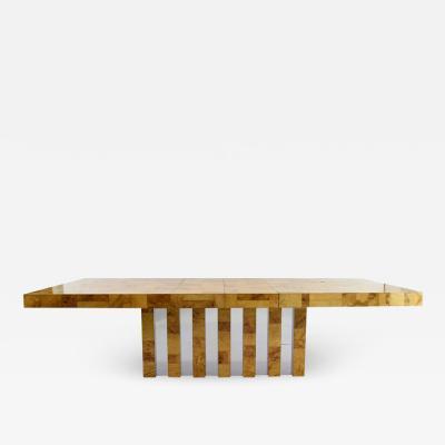 Paul Evans Paul Evans Burl Wood and Chrome Cityscape Dining Table