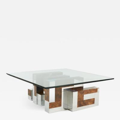 Paul Evans Paul Evans Cityscape Coffee Table Burl Wood and Chrome