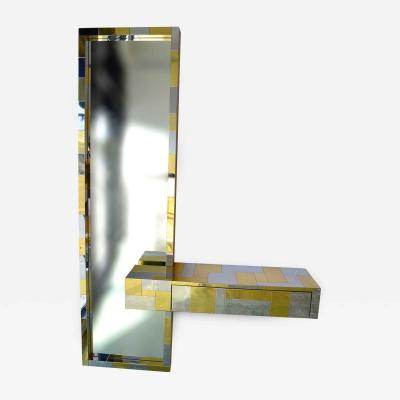 Paul Evans Paul Evans Cityscape Floating Console and Mirror by Directional Furniture