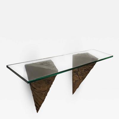 Paul Evans Paul Evans Console for Directional Brutalist Sculpted Bronze Glass Wall Mount
