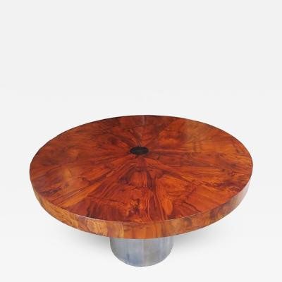 Paul Evans Paul Evans Dining Table Cityscape Burled Wood and Stainless Steel