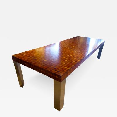 Paul Evans Paul Evans Directional 800 Series Dining Table w Burled Wood Marquetry C 1973