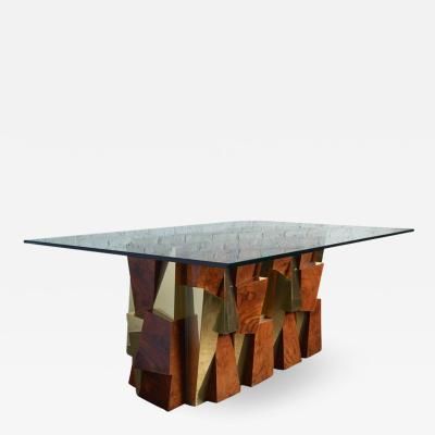 Paul Evans Paul Evans Faceted Cityscape Brass and Wood Dining Table