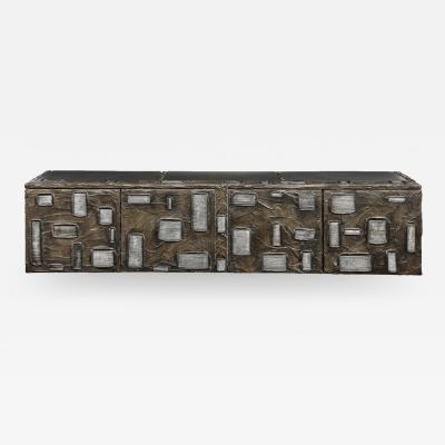 Paul Evans Paul Evans Important Sculpted Bronze Wall Cabinet 1969 Signed
