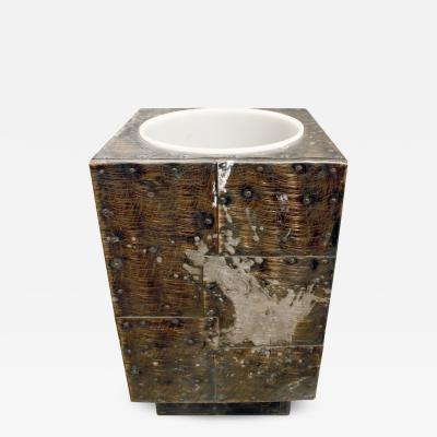 Paul Evans Paul Evans Large Hand Crafted Patchwork Ice Bucket 1970s