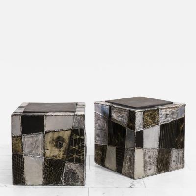 Paul Evans Paul Evans Pair of Argente Cube Side Tables USA c 1970