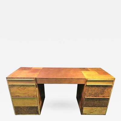 Paul Evans Paul Evans Patchwork Burled Wood and Leather Desk