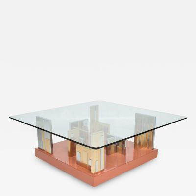 Paul Evans Paul Evans Patchwork Cityscape Platform Coffee Table in Chrome Brass 1970s