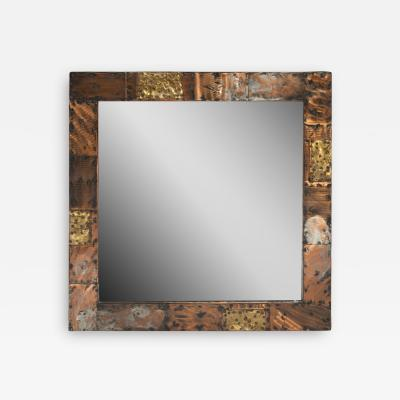 Paul Evans Paul Evans Patchwork Mirror in Copper Brass and Pewter 1970s