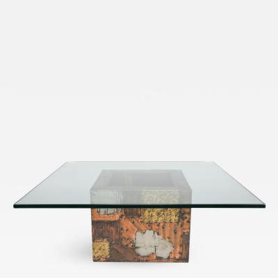 Paul Evans Paul Evans Pewter Brass and Copper Patchwork Cocktail Table Circa 1970s