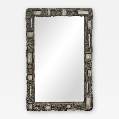 Paul Evans Paul Evans Rare Mirror in Bronze Resin with Enameled Steel 1969 Signed
