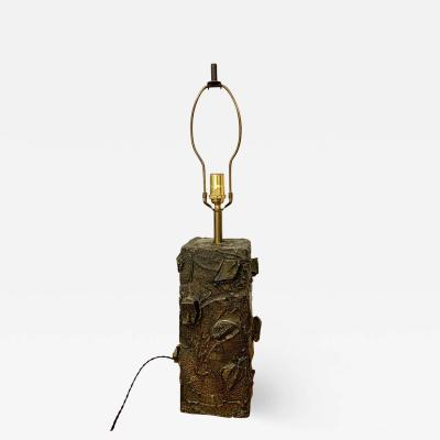 Paul Evans Paul Evans Sculpted Bronze Resin Relief Brutalist Table Lamp Early 1960s