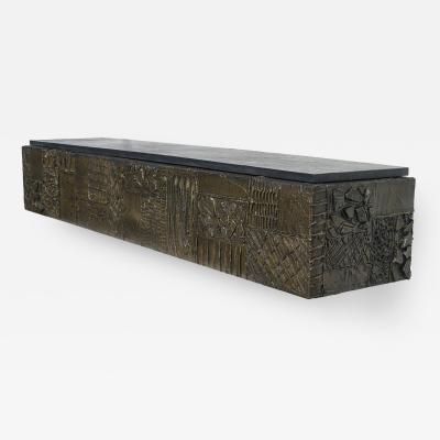 Paul Evans Paul Evans Sculpted Bronze Slate Top Wall Console Shelf Signed
