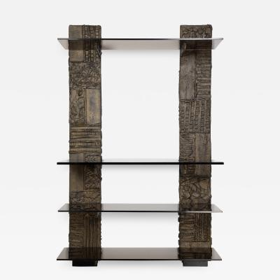 Paul Evans Paul Evans Sculpted Bronze Wall Unit 1974 Signed and Dated