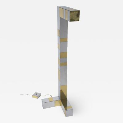 Paul Evans Paul Evans Sculptural Floor Lamp in Tessellated Chrome and Brass 1970s
