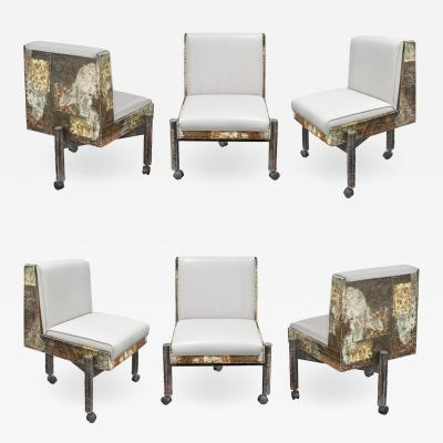 Paul Evans Paul Evans Set of 6 Rare Patchwork Dining Chairs 1967 Signed