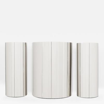 Paul Evans Paul Evans Set of Three Custom Polished Steel Cylinder Cabinets USA c 1980