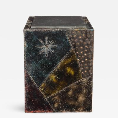 Paul Evans Paul Evans Side Table Sculpted Metal Cube Slate Steel Bronze Signed USA 1960s