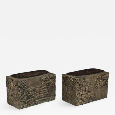 Paul Evans Paul Evans Side Tables Sculpted Bronze Wood Free form Tops 1960s