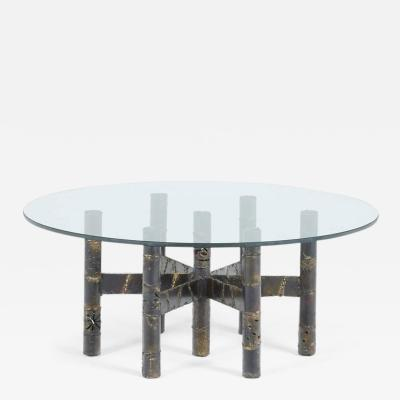 Paul Evans Paul Evans Signed Circular Brutalist Coffee Table circa 1970s