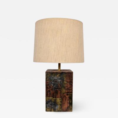 Paul Evans Paul Evans Studio CBP Copper Brass Pewter Patchwork Table Lamp 1960s