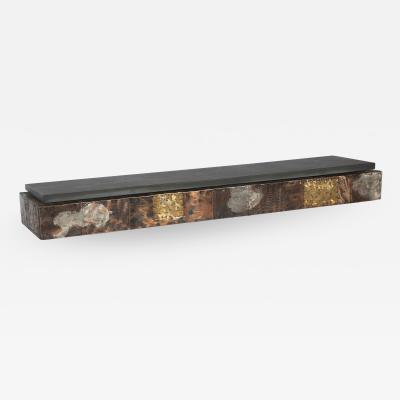 Paul Evans Paul Evans Wall Mounted Patchwork Console in Copper Brass and Pewter 1970s