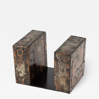 Paul Evans Paul Evans brutalist copper patchwork bookends circa 1970s