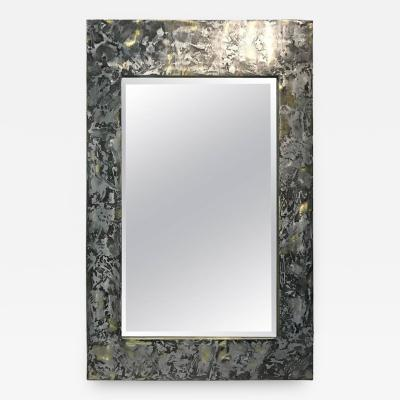 Paul Evans Phenomenal Mixed Metal Brutalist Wall Mirror in the Manner of Paul Evans