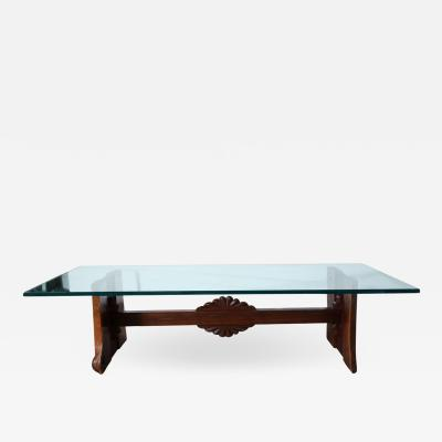 Paul Evans Phillip Lloyd Powell Phillip Lloyd Powell Sculpted Black Walnut Cherry and Glass Coffee Table 1960s