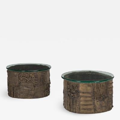 Paul Evans Rare pair of sculpted patinated bronze side tables by Paul Evans