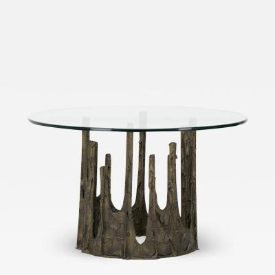 Paul Evans SCULPTED AND PATINATED BRONZE STALAGMITE CIRCULAR DINING TABLE BY PAUL EVANS