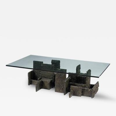Paul Evans Sculpted Bronze Coffee Table by Paul Evans