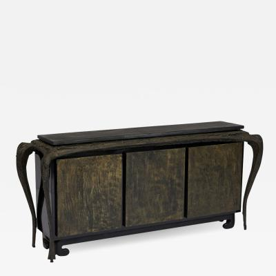Paul Evans Sculpted Bronze Console Table and Cabinet by Paul Evans