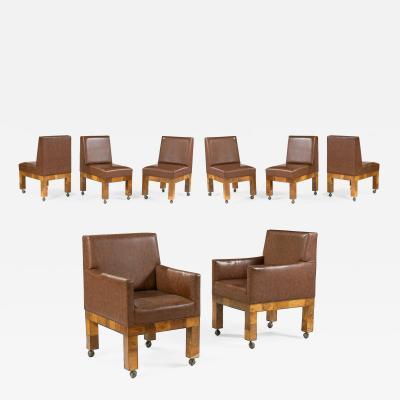 Paul Evans Set of Eight Paul Evans Mid Century Burl Patchwork Dining Chairs
