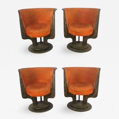 Paul Evans Set of Four Paul Evans Sculpted Bronze Chairs
