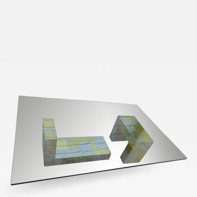 Paul Evans Stunning Paul Evans Cityscape Brass Chrome Patchwork Coffee Table Directional