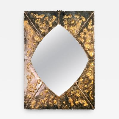 Paul Evans Textured Brutalist Elongated Diamond Shaped Mirror in the Manner of Paul Evans