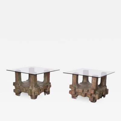 Paul Evans Unique Pair of Brutalist Bronze Side Tables in the Manner of Paul Evans