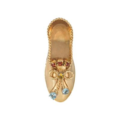 Paul Flato Retro 1940s Gold and Gemset Shoe Brooch Attributed to Paul Flato