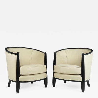 Paul Follot A Pair of Art Deco Lounge Armchairs by Paul Follot