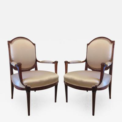 Paul Follot Fine Pair Late Art Deco Mahogany Bergere