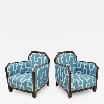 Paul Follot Fine Pair Rosewood Art Deco Club Chairs