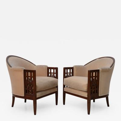 Paul Follot Fine Pair of French Art Deco Mahogany Chairs Paul Follot
